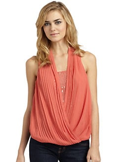 RED Saks Fifth Avenue - Sequin-Embellished Pleated Chiffon Top