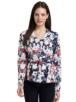 RED Saks Fifth Avenue - Floral-Print Peplum Blouse