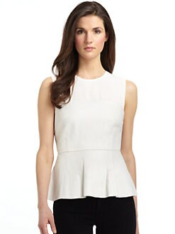RED Saks Fifth Avenue - Leather Illusion Peplum Top