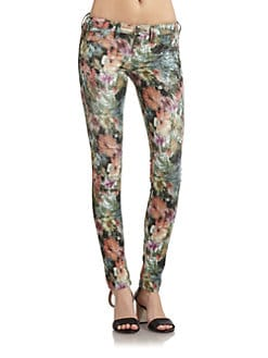GRAY Saks Fifth Avenue - Soho Watercolor Floral-Print Skinny Jeans