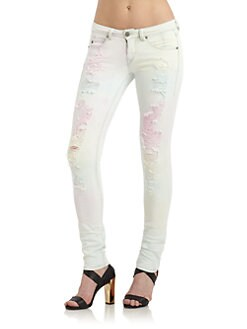 GRAY Saks Fifth Avenue - Tie-Dyed Distressed Skinny Jeans