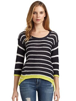 RD style - Knit Striped Contrast Hi-Lo Sweater
