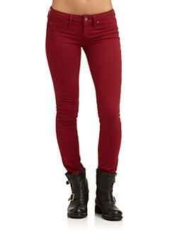 GRAY Saks Fifth Avenue - Spring Street Skinny Leg Denim Jeans/Red