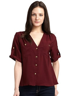 A new york - Pocket Button-Front Blouse