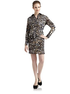 5/48 - Abstract Animal Print Shirtdress