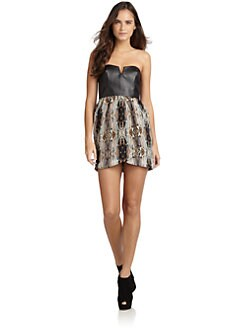5/48 - Rococo Abstract Print & Faux Leather Dress