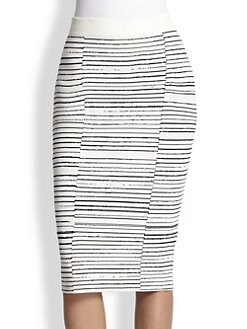 A.L.C. - Lyons Striped Stretch Knit Pencil Skirt