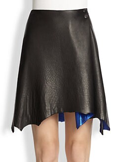 3.1 Phillip Lim - Leather Organic-Hemmed Skirt