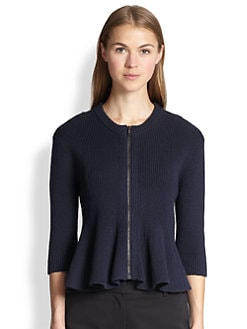 3.1 Phillip Lim - Ribbed Knit Peplum Cardigan