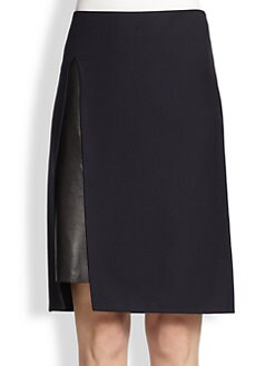 3.1 Phillip Lim - Wool Gab & Leather Pencil Skirt