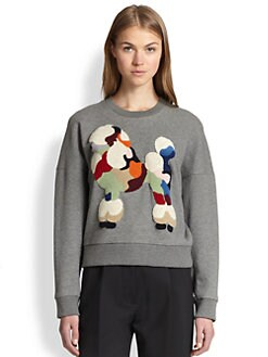 3.1 Phillip Lim - Embroidered Poodle Cropped Sweatshirt