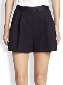 3.1 Phillip Lim - Satin-Trim Full-Leg Pleated Shorts