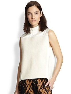 3.1 Phillip Lim - Satin & French Terry Mockneck Top
