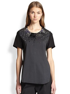 3.1 Phillip Lim - Rave Embellished Silk & Cotton Tee