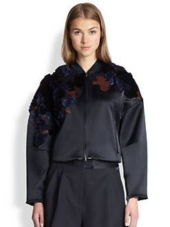 3.1 Phillip Lim - Embroidered Cropped Bomber Jacket