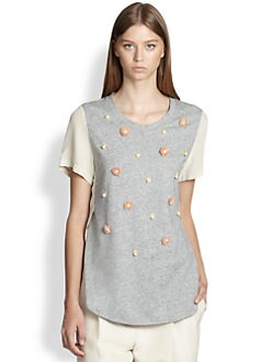 3.1 Phillip Lim - Silk & Cotton Flower-Embellished Tee