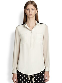 3.1 Phillip Lim - Silk Chiffon-Sleeved Colorblock Shirt