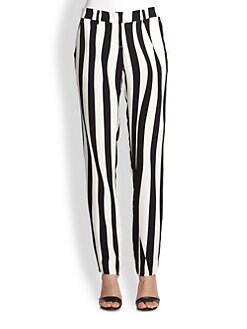 A.L.C. - Andrew Silk Striped Straight-Leg Pants