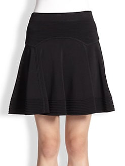 A.L.C. - Thomas Ribbed-Panel Flared Stretch Knit Skirt