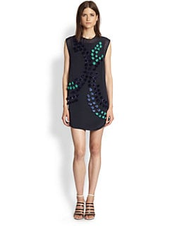 3.1 Phillip Lim - Silk Pom-Pom & Flower-Appliqued Dress