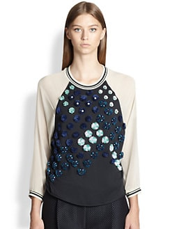 3.1 Phillip Lim - Flower-Appliqued Stretch Silk-Sleeved Cotton Tee