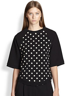 3.1 Phillip Lim - Cropped-Sleeve Cotton Polka Dot Sweatshirt
