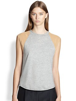 3.1 Phillip Lim - Sleeveless Silk-Paneled Cotton Baseball Tee