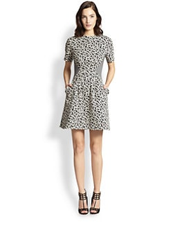 Thakoon Addition - Floral-Print & Checked Twill-Paneled Dress