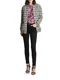 Thakoon Addition - Leather-Trimmed Knit Jacket
