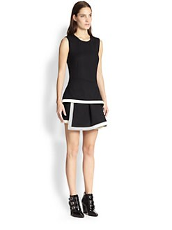 McQ Alexander McQueen - Stretch Wool Asymmetrical Tiered-Skirt Dress