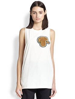 3.1 Phillip Lim - Poodle Applique Cotton Jersey Tank