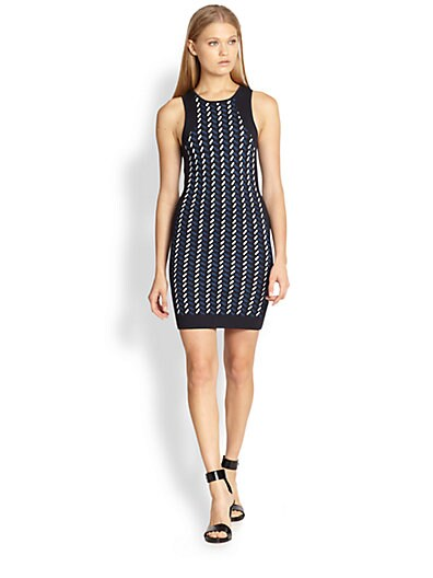 Calyx Textured-Pattern Body-Con Dress