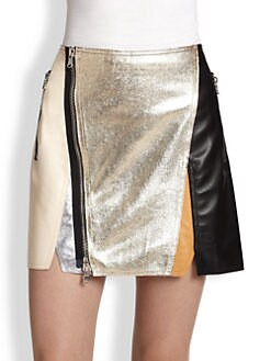 3.1 Phillip Lim - Metallic Colorblock Leather Skirt