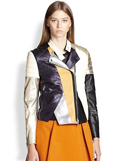 3.1 Phillip Lim - Colorblock Leather Biker Jacket