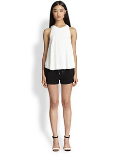 T by Alexander Wang - Leather-Trimmed Raw-Edged Trapeze Top