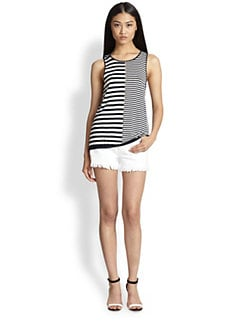 T by Alexander Wang - Perforated Striped Linen & Cotton Tank