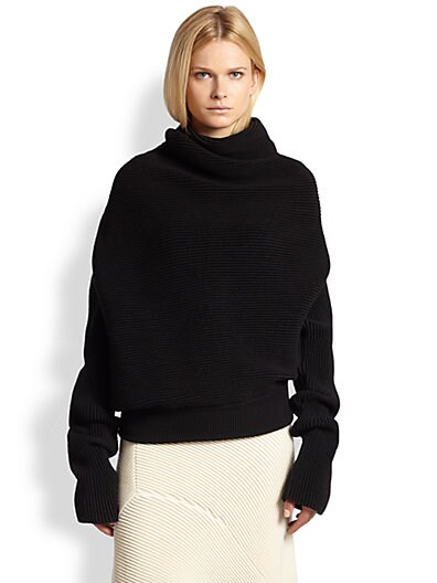 Acne Studios Galactic Asymmetrical Draped Ribbed Sweater