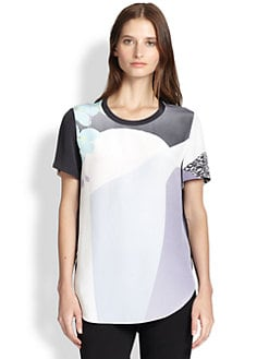 3.1 Phillip Lim - Printed Silk Sheer-Back Tee