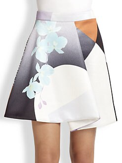 3.1 Phillip Lim - Soleil-Print Fold-Pleat Skirt