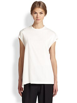 3.1 Phillip Lim - Horizon Draped-Side Cotton & Silk Top