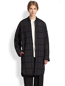 3.1 Phillip Lim - Long Grid Wool Bomber Jacket