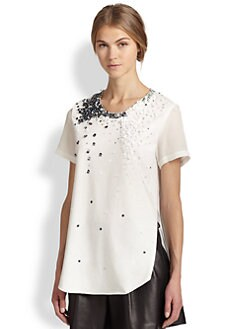 3.1 Phillip Lim - Sequin Side-Seam Cotton & Silk Top