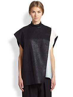 3.1 Phillip Lim - Foil Overlay Wool Turtleneck Tunic