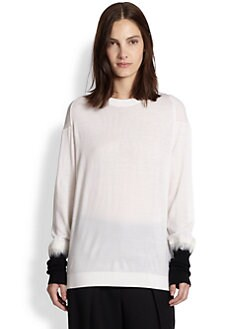3.1 Phillip Lim - Contrast Needle Punch Sleeve Cotton Top