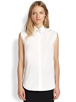 3.1 Phillip Lim - Pinned-Collar Stretch-Cotton Shirt