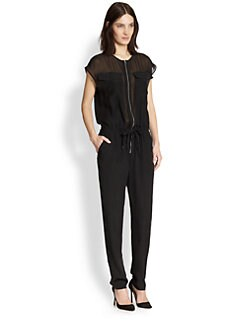 T by Alexander Wang - Stretch Silk Sheer-Paneled Jumpsuit