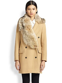 MSGM - Coyote Fur-Trimmed Double-Breasted Coat
