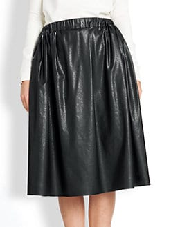 MSGM - Faux Leather Full Midi Skirt