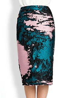 MSGM - Jacquard Silk Pencil Skirt