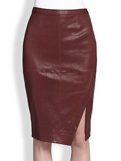 Elizabeth and James - Mercy Leather Asymmetrical Wrap-Effect Skirt